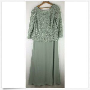Alex Evenings Dress Gown 16 Green Formal Lace Top